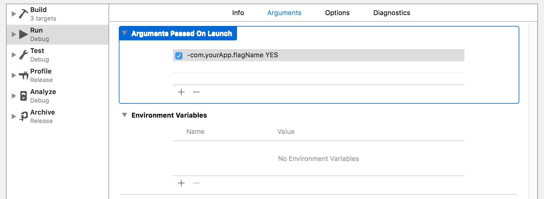 Image of Arguments Passed On Launch in Xcode Scheme Editor